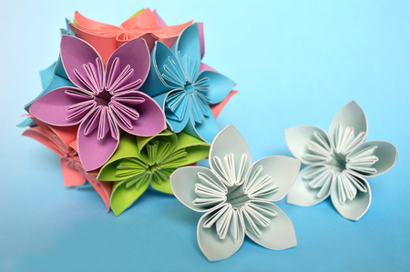 Origami kusudama flower on blue background stock photo picture and origami kusudama flower on blue background stock photo 90000440 mightylinksfo