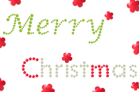 Merry Christmas word from flower shaped fruit on white background Stock Photo