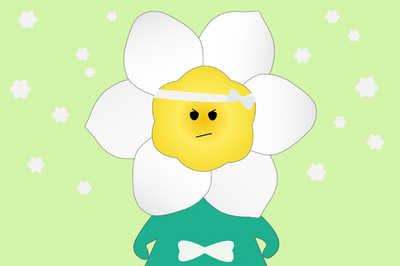 Daffodil flower cartoon on green background Imagens - 91933171