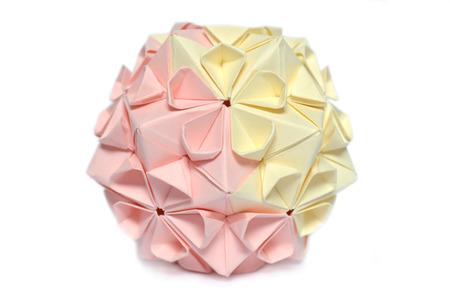 Modular origami, cherry blossom, on white background