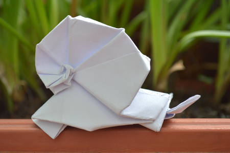 White origami snail on natural background