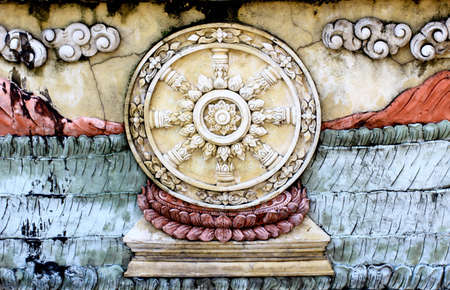 Buddhist circles on the wall photo