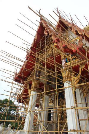 Renovation of old Buddhist Chapel , Wat Tham Mongkhon Thao Bunya Non Wihan Bangkok in Thailand  Stock Photo - 14254050