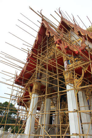 reconstruct: Renovation of old Buddhist Chapel , Wat Tham Mongkhon Thao Bunya Non Wihan Bangkok in Thailand