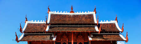 Thai style blockhouse on the blue sky background Stock Photo