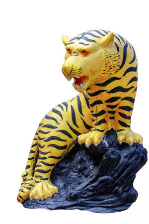 Tiger statue on a white background
