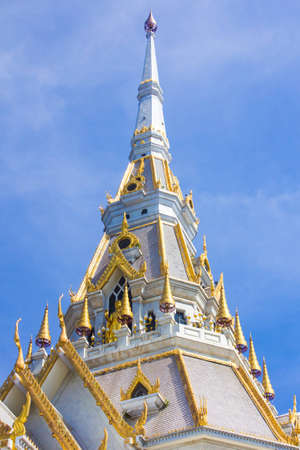Top of roof Thai temple,Sothon Temple,Chachengsao in Thailand photo