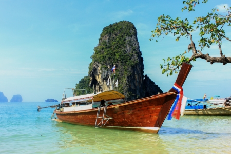 Long tail boats, Tropical paradise, Andaman Sea, Thailand  photo