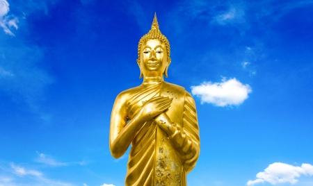 Buddha statue on a black background