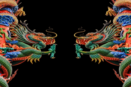 Dragon  statue on a black background