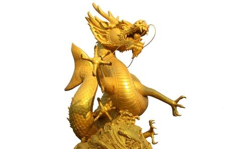 Golden gragon statue on white background Stock Photo