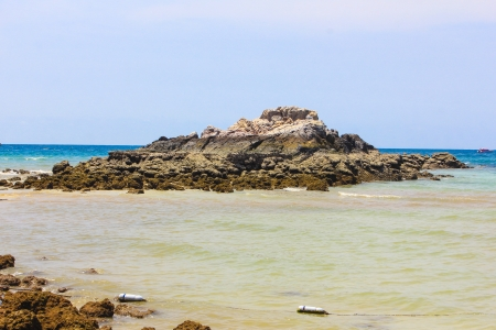 hill into the sea water at coral island or Koh Larn ,Pattaya Thailand photo