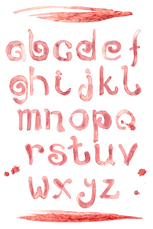 Red wine splash special font, abc a-z small letters. Red liquid letter