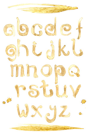 Coffee splash special font, abc a-z small letters. Stock Photo