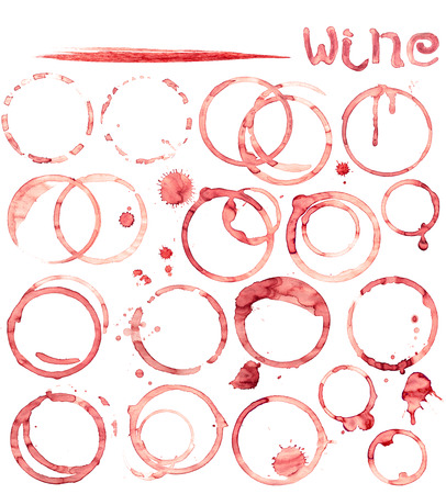 Wine stain circles in  red tones with realistic gradient shading.