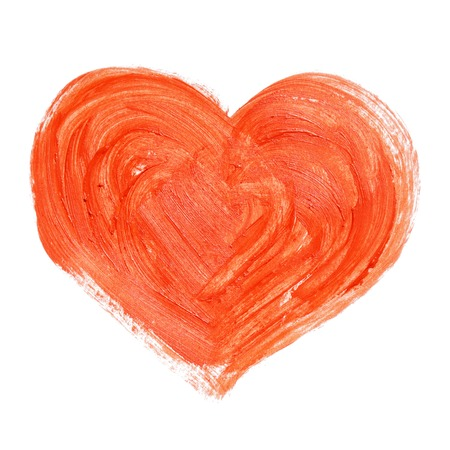 Hand-drawn painted red heart, element for your design