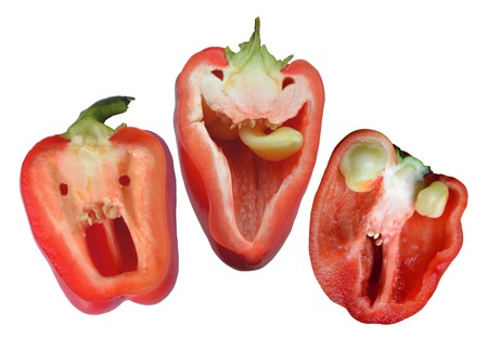 Three red funny peppers ready for halloween party Stock Photo
