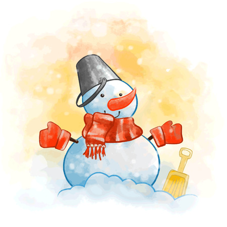 Snowman with a red scarf Illustration