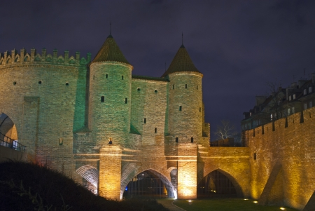 Warsaw by night - Old Town fortifications  photo