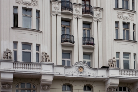 restored: Facade of the old building with sculptural details
