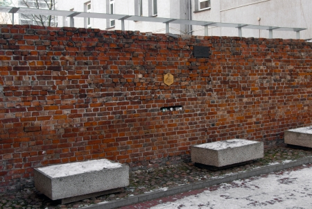 treblinka: Traces of the Jewish Ghetto, Warsaw, Poland - Preserved part of the Ghetto wall, located in the yard of a house in Sienna Street Editorial