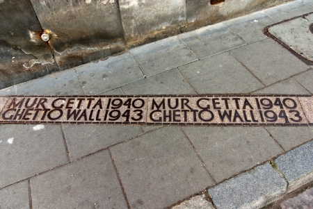 Traces of the Jewish Ghetto, Warsaw, Poland - Commemorative pavement plaque Stock Photo - 20062147