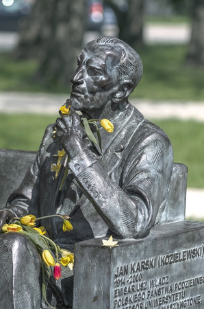 eyewitness: Poland, Warsaw - monument to Jan Karski, an envoy of the Polish Underground State and an eyewitness of the extermination of the Jews in a German concentration camp. Editorial