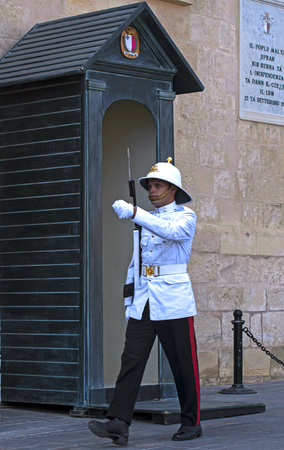 Armed Forces of Malta - Honour guard in front of the Grand Masters Palace Editorial