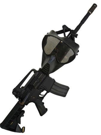 old rifle: M4A1 mask Stock Photo
