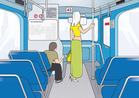 pickpocket: thieves in public transport   attention! pickpocket work in transport!  Illustration