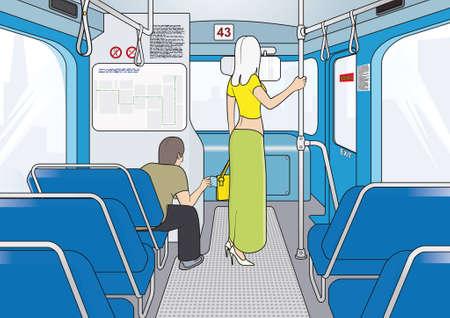 sneak: thieves in public transport   attention! pickpocket work in transport!  Illustration