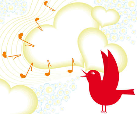 Bird singing Stock Vector - 10419135