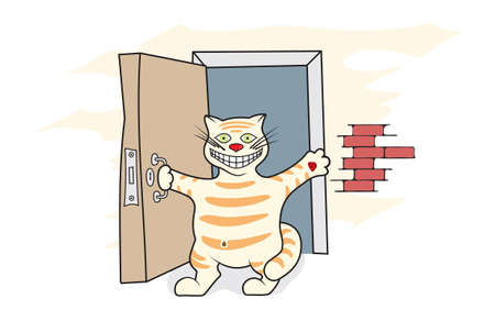 the joyful, happy cat with a smile welcomes visitors Vector