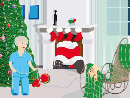 canceled: christmas is canceled:) the boy decided to catch santa claus Illustration