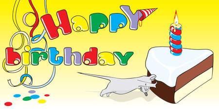 the mouse steals a celebratory cake.