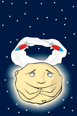 occurrence: the moon is happy from occurrence of spaceships.