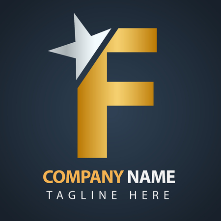 A logo f for luxury business isolated on black background.