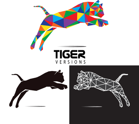 A Vector Polygonal Tiger  and Animal Low Poly Logo Icon Symbol Triangle Geometric Tiger Polygon