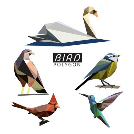 Polygonal Colorful Vector bird. Stylized Origami Illustration.