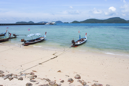 long tailed boat: Island tour with long-tailed boat in phuket Thailand Stock Photo
