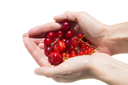 girl holding a currant and cherry on a white background photo