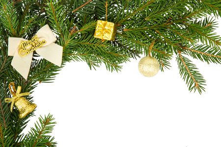 Christmas frame with white bow and yellow decorations photo
