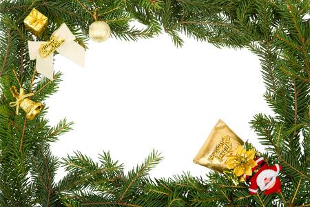 mo�o blanco: Marco de la Navidad con el arco blanco, santa y decoraciones amarillas