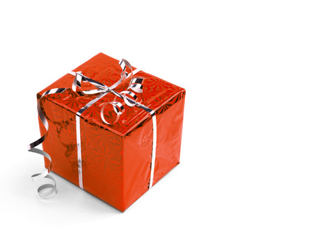 christmas present box: Red Christmas gift boxes on white background. copy space