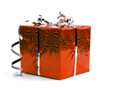 Red Christmas gift boxes on white background. copy space