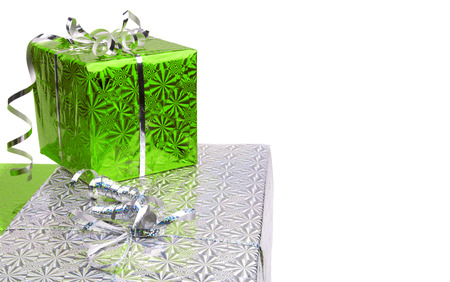 Green Christmas gift boxes on white background. copy space Banco de Imagens