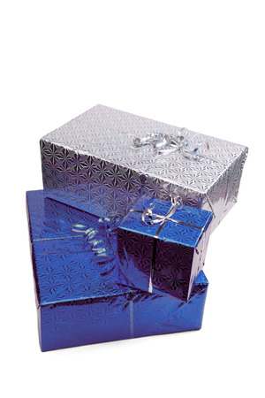 Blue Christmas gift boxes on white background. copy space