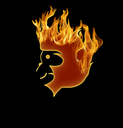 monkey silhouette: Fire Monkey symbol 2016 on black background. Illustration Stock Photo