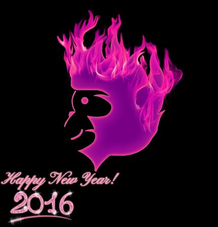 Fire Monkey symbol 2016 on black background. Illustration Banco de Imagens