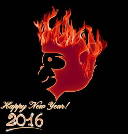 abstract gorilla: Fire Monkey symbol 2016 on black background. Illustration Stock Photo